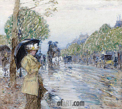 Rainy Day on the Avenue, 1893 | Hassam| Gemälde Reproduktion