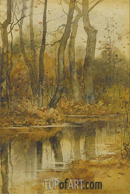 Stream in the Woods, undated | Hassam| Painting Reproduction