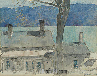 Old House, Newburgh, New York, 1916 | Hassam | Painting Reproduction