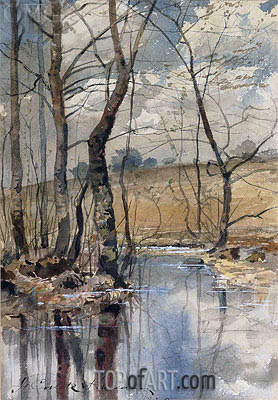Woodland Pond, 1882 | Hassam | Painting Reproduction