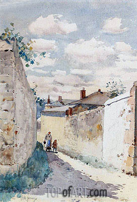 Street - Auvers Sur l'Oise, 1883 | Hassam | Painting Reproduction