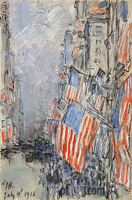 Flag Day, Fifth Avenue, July 4th 1916, 1916 | Hassam | Painting Reproduction