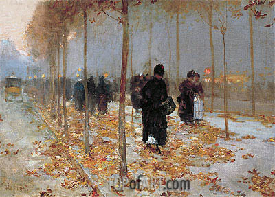 Paris Street Scene, Autumn, 1889 | Hassam | Painting Reproduction