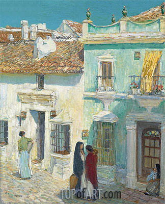 Plaza de la Merced, Ronda, 1910 | Hassam| Painting Reproduction