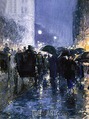 Rainy Night, c.1895 | Hassam | Painting Reproduction