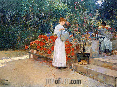 After Breakfast, 1887 | Hassam| Painting Reproduction