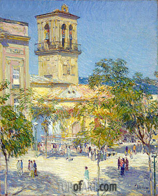 Street of the Great Captain, Cordoba, 1910 | Hassam | Painting Reproduction