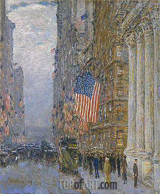 Flags on the Waldorf, 1916 | Hassam | Painting Reproduction