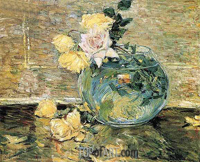 Hassam | Roses in a Vase, 1890