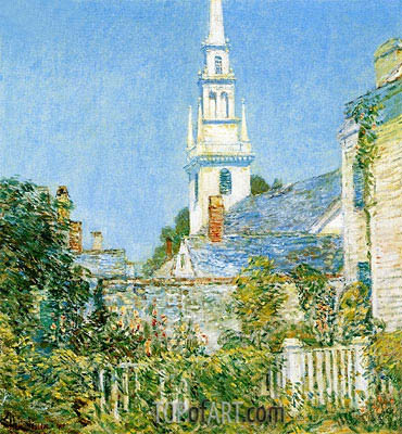 White Church at Newport, 1901 | Hassam | Painting Reproduction