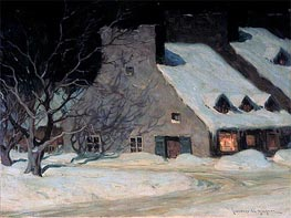 Street Scene, Quebec at Night, c.1917 von Clarence Gagnon | Gemälde-Reproduktion
