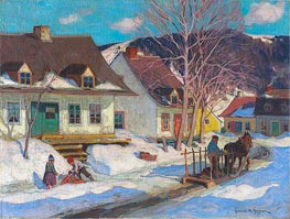 A Québec Village Street, Winter | Clarence Gagnon | Painting Reproduction