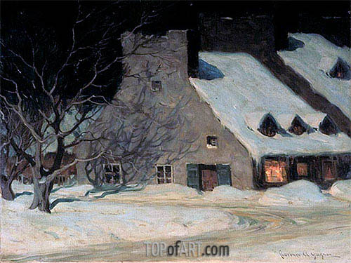Street Scene, Quebec at Night, c.1917 | Clarence Gagnon | Painting Reproduction