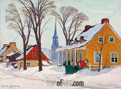 Winter Morning in Baie-Saint-Paul, c.1926/34 | Clarence Gagnon | Painting Reproduction