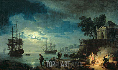 Night: A Port in the Moonlight, 1771 | Claude-Joseph Vernet | Gemälde Reproduktion