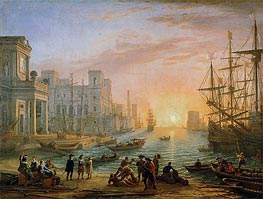 Sea Port at Sunset, 1639 by Claude Lorrain | Painting Reproduction