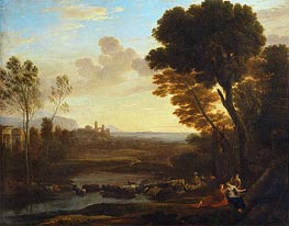 Landscape with Paris and Oenone (The Ford), 1648 by Claude Lorrain | Painting Reproduction