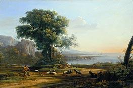 Pastoral Landscape (Sunset), c.1645/50 von Claude Lorrain | Gemälde-Reproduktion