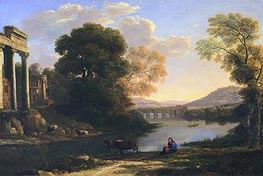 Landscape with Cowherd (Evening) | Claude Lorrain | Gemälde Reproduktion