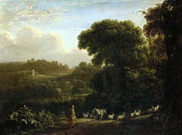 Landscape with Setting Sun, c.1639 by Claude Lorrain | Painting Reproduction