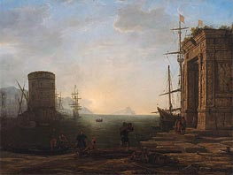 Harbor View at Sunrise | Claude Lorrain | Gemälde Reproduktion
