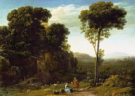 Pastoral Landscape with a Mill, 1634 by Claude Lorrain | Painting Reproduction
