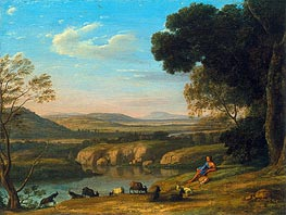 River Landscape with Goatherd, 1640 by Claude Lorrain | Painting Reproduction
