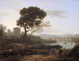 Landscape near Rome with a View of the Ponte Molle | Claude Lorrain | Gemälde Reproduktion