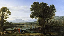 A River Landscape with Jacob and Laban and his Daughters, 1654 by Claude Lorrain | Painting Reproduction