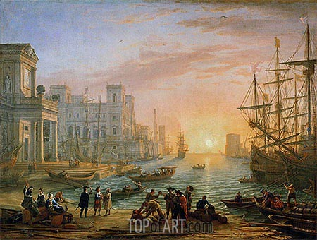 Sea Port at Sunset, 1639 | Claude Lorrain| Painting Reproduction