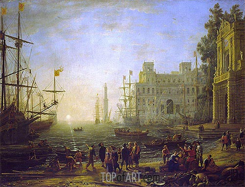 Claude Lorrain | Port with Villa Medici, 1637