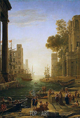 Landscape with the Embarkment of Saint Paula Romana in Ostia, c.1639/40 | Claude Lorrain| Painting Reproduction