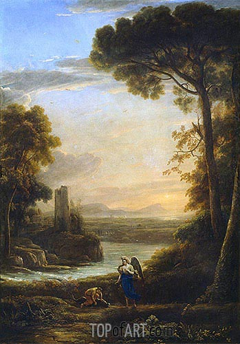 The Archangel Raphael and Tobias, c.1639/40 | Claude Lorrain | Painting Reproduction