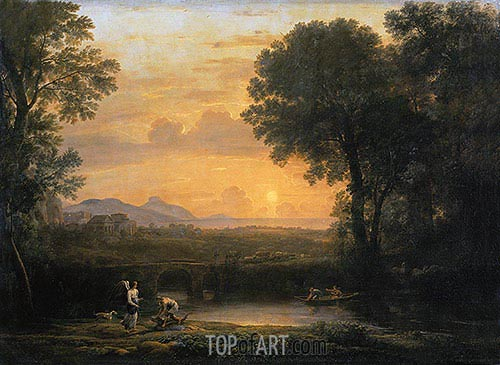 Landscape with Tobias and the Angel, 1663 | Claude Lorrain| Painting Reproduction