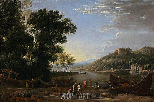 Landscape with Merchants, c.1630 | Claude Lorrain | Painting Reproduction