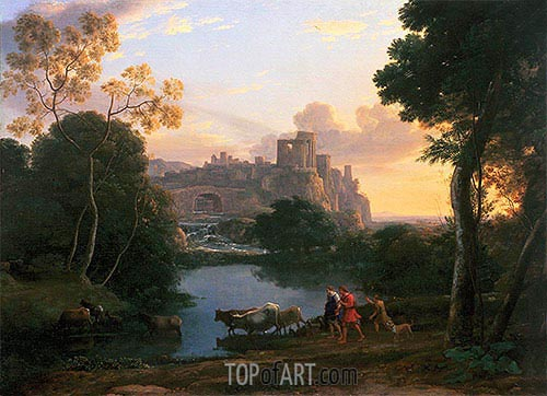 View of Tivoli at Sunset, 1644 | Claude Lorrain| Gemälde Reproduktion