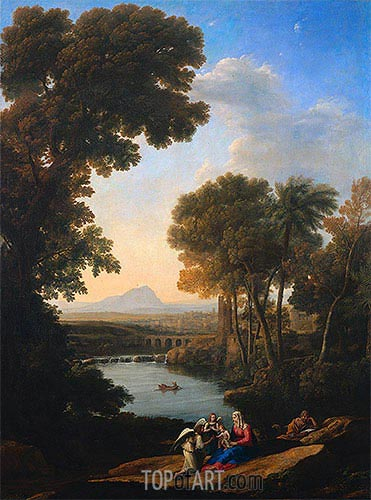 Rest on the Flight into Egypt, c.1640/43 | Claude Lorrain | Gemälde Reproduktion