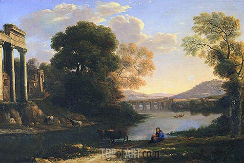 Landscape with Cowherd (Evening), undated | Claude Lorrain| Painting Reproduction