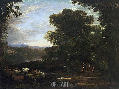 Landscape with Cattle and Peasants, 1629 | Claude Lorrain| Gemälde Reproduktion