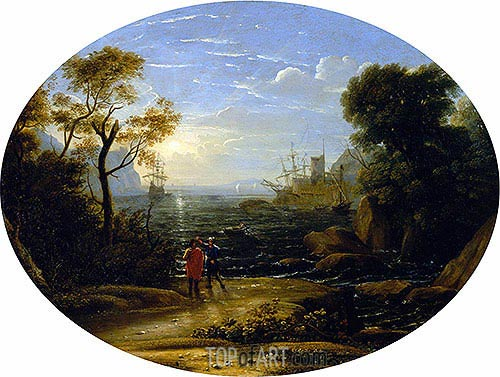 Seascape - Setting Sun, c.1630/35 | Claude Lorrain| Painting Reproduction