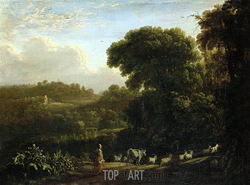 Landscape with Setting Sun, c.1639 | Claude Lorrain| Painting Reproduction