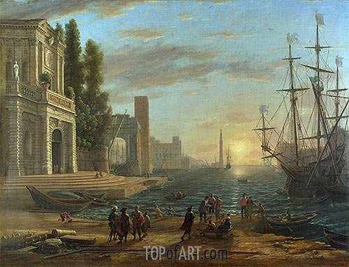 A Seaport, 1644 | Claude Lorrain| Painting Reproduction