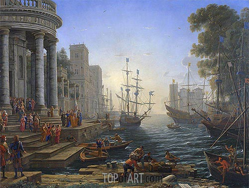 Seaport with the Embarkation of Saint Ursula, 1641 | Claude Lorrain| Painting Reproduction