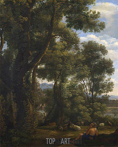 Claude Lorrain | Landscape with a Goatherd and Goats, c.1636/37