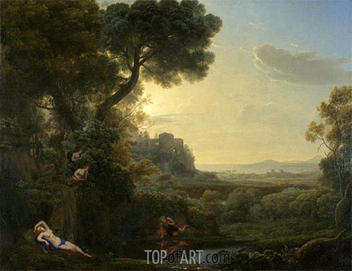 Landscape with Narcissus and Echo, 1644 | Claude Lorrain | Painting Reproduction