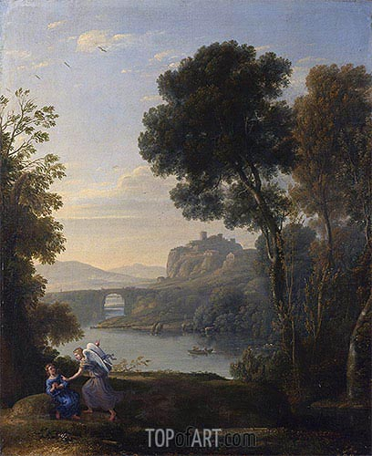 Landscape with Hagar and the Angel, 1646 | Claude Lorrain| Painting Reproduction
