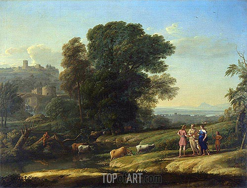 Landscape with Cephalus and Procris Reunited by Diana, 1645 | Claude Lorrain| Painting Reproduction