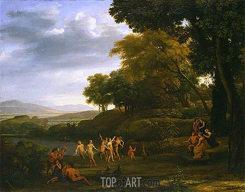 Landscape with Dancing Satyrs and Nymphs, 1646 | Claude Lorrain| Gemälde Reproduktion