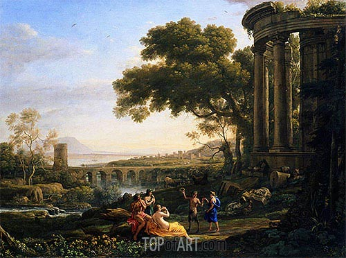 Landscape with Nymph and Satyr Dancing, 1641 | Claude Lorrain| Painting Reproduction