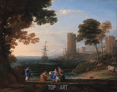 Coast View with the Abduction of Europa, 1645 | Claude Lorrain| Gemälde Reproduktion